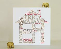 What better congratulations gift than a personalised house canvas!This housewarming canvas gift is ideal for a very special couple or family. Word Cloud Art, Word Art, Housewarming Present, Housewarming Food, Golden Anniversary Gifts, Family Birthdays, Family Names, Engagement Presents, Congratulations Gift
