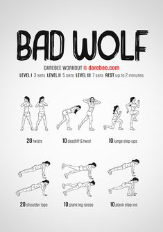 This bad wolf workout will have you howling for more. Are you ready for this workout? Calisthenics Workout, Workout Fitness, Kickboxing Workout, Darbee Workout, Fitness Motivation, Woman Workout, Waist Workout, Motivation Quotes, Fitness Tips