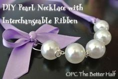 love these DIY Interchangeable Ribbon and Pearl Necklaces from One Project Closer by linda
