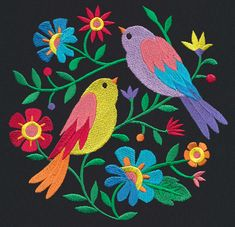 30 trendy ideas for bird embroidery designs unique urban threads Mexican Embroidery, Bird Embroidery, Learn Embroidery, New Embroidery Designs, Embroidery Patterns, Unique Art Projects, Folk Art Flowers, Mexican Folk Art, Embroidery Techniques