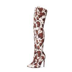 Women's Cow Print Stiletto Heel Thigh High Boots for   Up2Step Thigh High Boots Heels, Heeled Boots, Ankle Boots, Suede Heels, Stiletto Heels, Black Cow, How To Stretch Boots, Cow Print, Thigh Highs