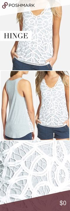 "HINGE BATTENBURG LACE OVERLAY  GREY TANK TOP HINGE BATTENBURG LACE OVERLAY  TANK TOP. Dainty scallops sweeten the scooped neckline of a cotton tank textured in front with an embroidered lace overlay. A matte back and draped shirttail hem complete the sporty-chic style. Size: S Approx. Measurements: Bust 30"", Waist 34"", Length 23"" front length; 27"" back length"" Material: 100%Cotton with 100% Rayon Contrast Condition: Excellent Hinge Tops Tank Tops"