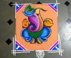 20 Best Ganesha Rangoli Designs for Diwali Diwali is less than a week away and its high time to finalize what kind of rangoli you are going to make this Rangoli Designs Photos, Rangoli Photos, Rangoli Designs Latest, Rangoli Designs Diwali, Rangoli Designs With Dots, Beautiful Rangoli Designs, Mehndi Images, Ganesha Rangoli, Kolam Rangoli