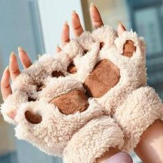 Winter Ladies Women Cute Animal Cat Bear Claw Paw Plush Mittens Short Fingerless Warm Lovely Gloves Half Finger Gift-in Women's Gloves from Apparel Accessories on AliExpress Pink Leather, Soft Leather, Kawaii, Harajuku, Long Gloves, Women's Gloves, Bear Paws, Leather Design, Leather Gloves