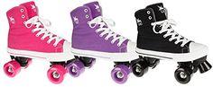 awesome Rookie Canvas Hi top Quad Roller Skates Black Size 6 UK
