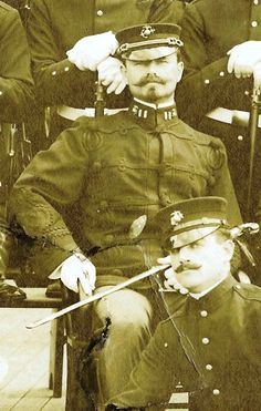 Capt John T. Myers: Commanded the detachment of Marines who defended the American Legation during the Boxer Uprising. The officer in this picture has been tentatively identified as Myers.