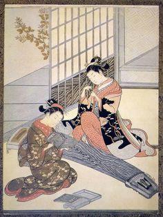 """The flight of the wild geese"", 1766 by Suzuki Harunobu."