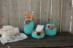 Aqua mason jar desk set