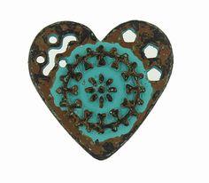 Green Patina Mandala Heart Metal Shank Buttons - 19mm - 3/4 inch