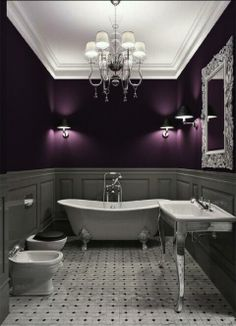 Devon + Devon fixtures, Edwardian Tile Company floor tiles, timber panelling, striking colour palette