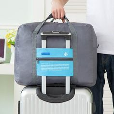 WaterProof Folding Travel Bag comes with a small pouch for storage in suitcase or purse until needed. Perfect for those trips you plan to shop and bring things back!