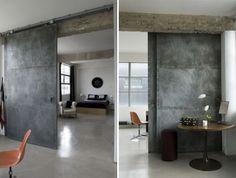 Dark #industrial style #design with sliding barn #doors