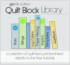 Quilt Block Library  ... collection of over 200 free tutorials for quilt blocks, with colored pictures.  Love it!
