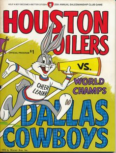 1972 DALLAS COWBOYS VS HOUSTON OILERS NFL FOOTBALL PROGRAM