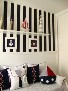 Quarto do marinheiro Matteo Nautical Bedding Sets, Nautical Nursery Decor, Baby Decor, Nautical Pillows, Baby Boy Rooms, Baby Room, Kids Bedroom, Bedroom Decor, Ideas Para