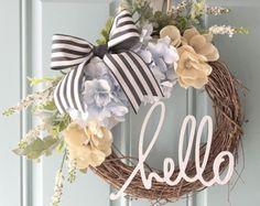 Blush and Gold Wreath // Hello // Home Decor // Spring Wreath