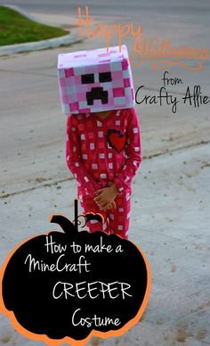 http://www.craftyallieblog.com/2013/10/minecraft-creeper-costume.html -- this is a girl's version of a creeper, obviously James would want a green version, but this has a great method for painting the outfit.