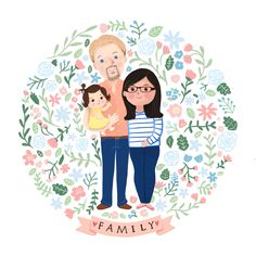 A portrait of my own little family with my hubby and my sweet little Emma in a pastel coral pink and baby blue background #commissionwork #familyportrait #digitalart #illustration #florals #pastel #portrait #art #ipad #procreate #colour