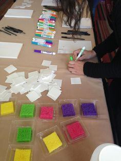 Washable markers onto scratch foam, wet sponge set on paper while coloring foam. Then move sponge, flip foam onto paper and press down to transfer image...cool idea for large group