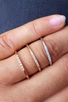 Classic and easy to style, our Semi Eternity CZ Band features a row of sweet, dazzling CZ stones in your choice of 18K gold, rose gold or silver-plated copper. Every woman should have a classic white stone ring in her jewelry box. - Composition: 18k gold, rose gold or silver-plated over copper, clear CZ stones - Measurements: ring band: 16 gauge (1.2mm) Raw Crystal Jewelry, Gemstone Jewelry, Jewelry Box, Jewelry Accessories, Jewelry Design, Jewellery, Stone Rings, Band Rings, Gifts For Wife