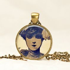 Victorian Girl Pendant, French Parisian Necklace in antique bronze CB18 by prideandpendants on Etsy
