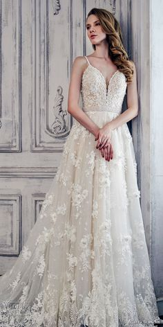 calla blanche spring 2017 bridal sleeveless spagetti strap deep plunging sweetheart neckline heavily embroidered bodice romantic a  line wedding dress open low back chapel train (17128) mv