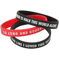 My Chemical Romance So Long And Goodnight Rubber Bracelet 3 Pack Hot... ($6.80) ❤ liked on Polyvore featuring jewelry, bracelets, accessories, rubber bracelet, used., hot topic, wide bangle, hot topic jewelry, rubber jewelry and rubber bangles