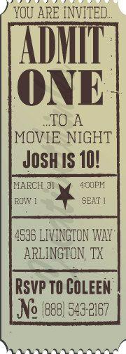 DIY Customizable/Printable Vintage Movie Ticket by creativethinks
