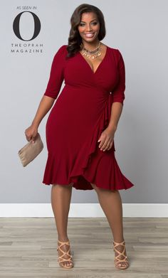 Have you see us in Oprah magazine? Our plus size Whimsy Wrap Dress is the perfect silhouette for all body types. Check out our made in the USA fashions at www.kiyonna.com. #kiyonnaplusyou
