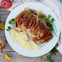 Pečené bravčové karé so slaninou a jablkami - BILLA kulinarium Steak, Pork, Food And Drink, Keto, Kale Stir Fry, Steaks, Pork Chops