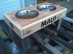 Pallet dog feeding station reclaimed pallet wood pet furniture pallet dog bowl stand!