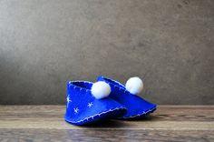 Felt Baby Booties Blue White Stars on Etsy, $12.48