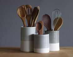 utensil holder - cylinder shaped white porcelain clay and grey glaze  - modern pottery. grey white minimalist vase. READY MADE on Etsy, $60.00
