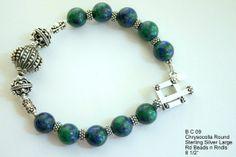 Blue and Green Chrysocolla Bead Bracelet