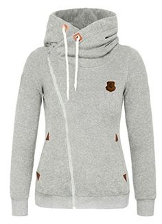 Lingswallow Womens Casual Running Coat Zipper Fashion Hoodie Sport Jacket Grey >>> Want to know more, click on the image.