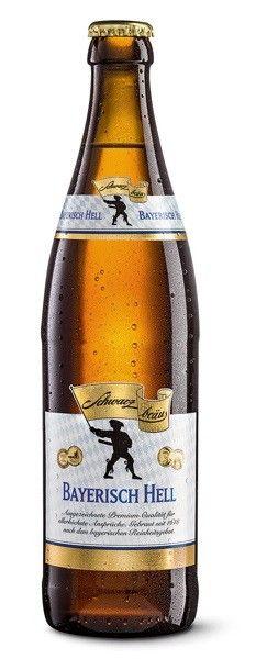 Cerveja Bayerisch Hell, estilo Munich Helles, produzida por Schwarzbräu, Alemanha. 4.8% ABV de álcool.
