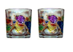 ArtisanStreet's Jeweled Candle Holders. Set of 2. Purple, Green, Red, Blue. Hand Painted, Signed by ArtisanStreet. $60.00. Individually hand painted & signed by artisan. Perfect for the holidays. Holders measure 3.5 x 2 3/4 inches; hand washing recommended. Set of two very unusual candle holders in bright jewel design. Wonderful wedding or engagement gift. Fun and beautiful jeweled candle holders. Hand painted on clear glass. Signed by artisan. Perfect as a gift ...