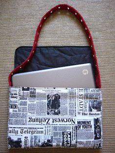 """News paper"" lap top bag."