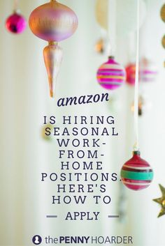 The holidays are coming -- and Amazon is gearing up for it. The online shopping giant is now hiring for seasonal, work-from-home jobs that pay $10 an hour! /thepennyhoarder/