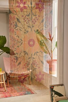 Urban Outfitters Rosa Floral Bamboo Beaded Curtain, boho home decor Closet Curtains, No Sew Curtains, Beaded Door Curtains, Bead Curtain Doorway, Window Curtains, Window Panels, Kitchen Curtains, Gypsy Curtains, Roman Curtains