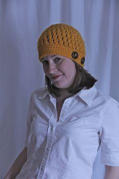 Winter Women's Crochet Hat Handmade Gold by rhondavaughan on Etsy