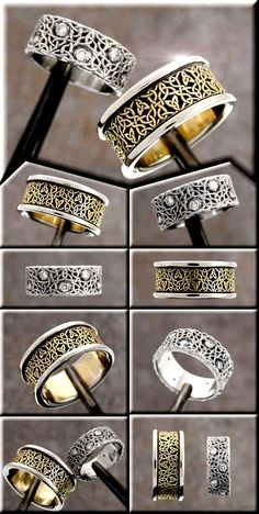 Another pair of custom celtic wedding rings. The jeweler is Tradeshop Jewelry. The knotwork designer is Cari Buziak (Aon Celtic design). Love these rings! Celtic Rings, Celtic Wedding Rings, Celtic Knot, Wedding Bands, Personalized Jewelry, Custom Jewelry, Wedding Jewelry, Jewelry Box, Irish Wedding