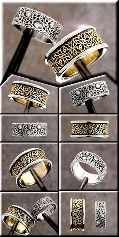 Another pair of custom celtic wedding rings. The jeweler is Tradeshop Jewelry. The knotwork designer is Cari Buziak (Aon Celtic design)