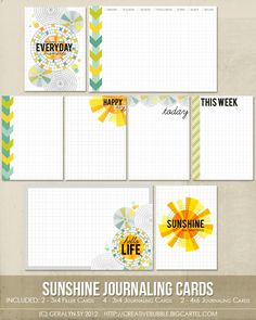 Like the weekly check boxes  In a Creative Bubble Shoppe — Sunshine Journaling Cards (Digital)