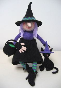 Halloween witch and cat knitting pattern; retail - not free from Alan Dart Tejido Halloween, Crochet Pour Halloween, Halloween Doll, Crochet Amigurumi, Amigurumi Doll, Knitted Dolls, Crochet Dolls, Knitting Projects, Crochet Projects