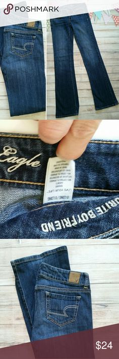 """American Eagle Favorite Boyfriend 0 Long Excellent condition, boyfriend cut is roomier and would  easily fit a size 2 as well.  Long 34"""" inseam. American Eagle Outfitters Jeans Boot Cut"""