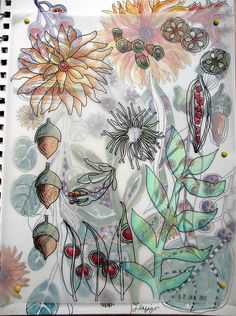 I like how Jane LaFazio uses vellum overlays on her art journal pages.