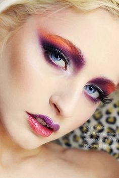 Violet and orange make up