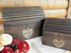 Wedding Card Box - Med Size - Rustic Wood Chest With Card Slot And Lock-key Set…