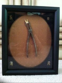 Oddities / Antique Dental Pliers Surrounded By Teeth In a Shadow Box..  8 x 10 Frame. Great for an oddities collector or a gift for someone in the dental field with a strange sense of humor.....